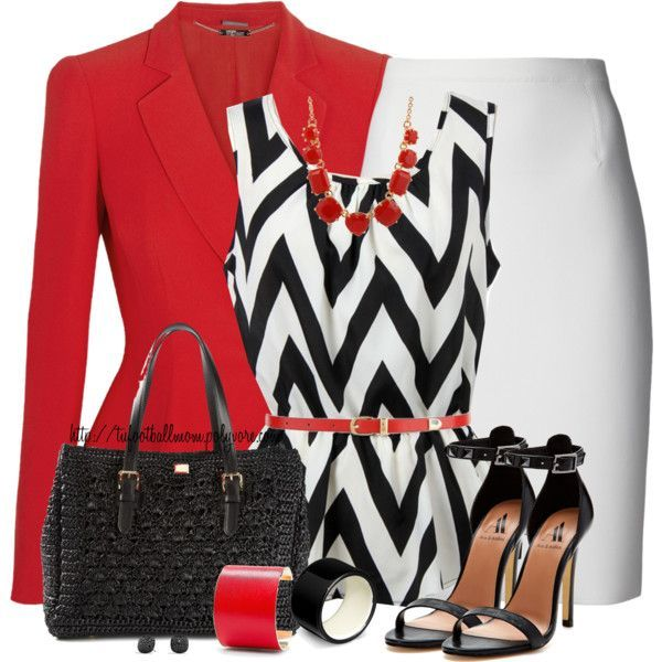 """Zigzag Sleeveless Top and White Skirt"" by tufootballmom on Polyvore"