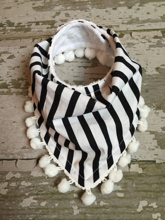 Drool bandana/ bandana baby bibs/ black and white by SewLinhThi