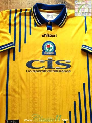 Official Uhlsport Blackburn Rovers away football shirt from the 1998/99 season.