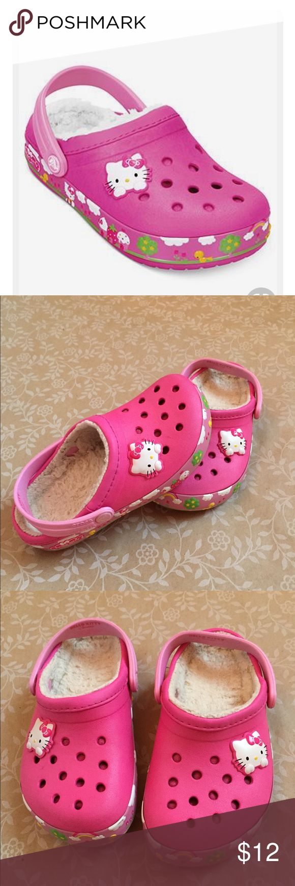 CROCS Hello Kitty Fuzz Lined girl's Crocs CROCS Hello Kitty Fuzz Lined girl's Crocs are perfect for Fall! The fuzz lining helps keep little feet warm as they go jumping into the piles of leaves! CROCS Shoes Mules & Clogs