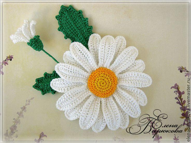 Купить Брошь вязаная цветок ромашка - белый, ромашка, белый цветок, вязаная брошь