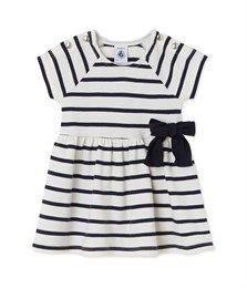 Baby girls' striped dress Coquille beige / Smoking blue - Petit Bateau