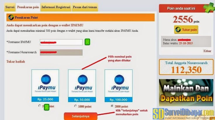 Pilih jumlah poin yang akan ditukarkan dengan iPaymu | Survei Dibayar