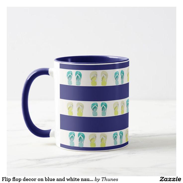 Flip flop decor on blue and white nautical stripes mug