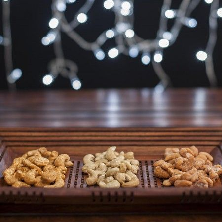 Assorted Cashew Selection Gifts @ CherryTin.com  Cashew nuts in three exciting flavours are brought together in a gift box that makes the best gift for Diwali & Rakhi.