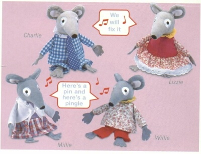 Singing Bagpuss mice with patchwork style clothes.