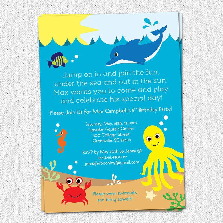 Under The Sea Birthday Party Invitation, Printable, Boy Or Girl, Sea Life,  Creatures, Dolphin, Summer, Pool, Lake, DIY Digital File