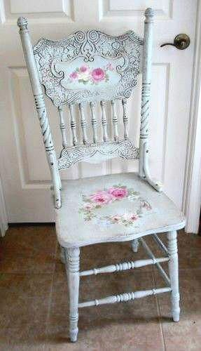 Painted blue chair with decoupage #babyfurnituresets Living Room