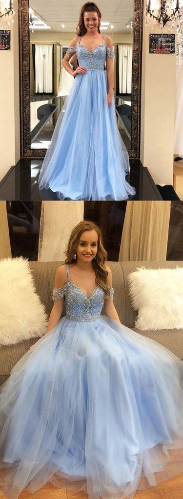 Light Blue Off Shoulder Tulle Prom Dress, Light Blue Formal Dress, Graduation Dress #prom #promdress #prom2018 #prom2k18 #dress #bluepromdress #lightbluedress #blueformaldress #offshoulderdress