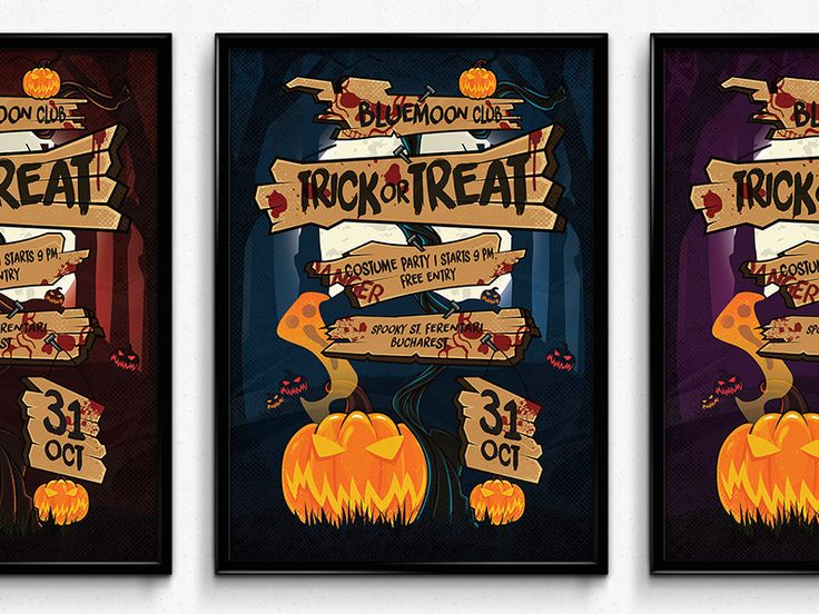 Trick Or Treat - Halloween Sign Poster by Vede Emanuel