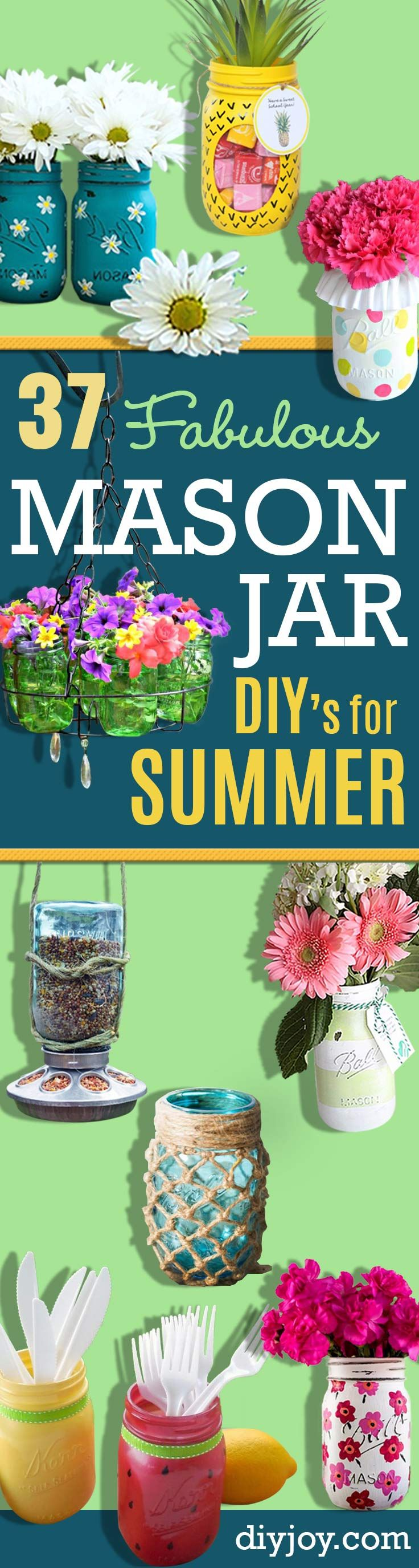 Mason Jar Ideas for Summer -  Mason Jar Crafts, Decor and Gifts, Centerpieces and DIY Projects With Jars That Are Perfect For Summertime - Fun and Easy Lights, Cool Vases, Creative 4th of July Ideas http://diyjoy.com/mason-jar-crafts-summer