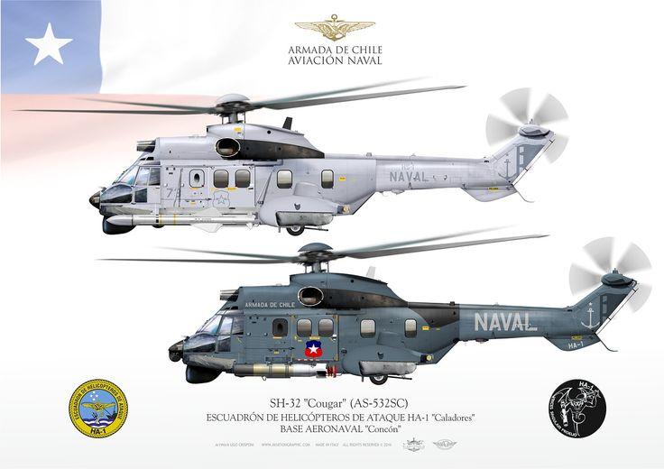 "CHILEAN NAVY . ARMADA DE CHILE - AVIACIÓN NAVALESCUADRÓN DE HELICÓPTEROS DE ATAQUE HA-1 ""Caladores""BASE AERONAVAL ""Concón"""
