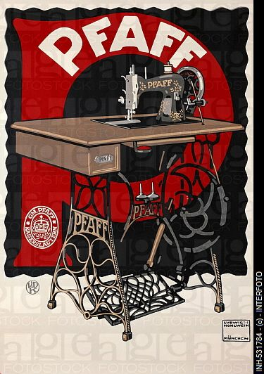 Advertising, household, sewing-machines, Pfaff, Munich, circa 1910, poster