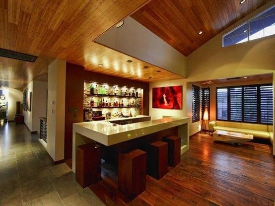 Glamorous Traditional Home Bar Design Ideas With Granite Bar Table Top And  Wooden Bar Stools Also Laminated Wood Flooring Ideas