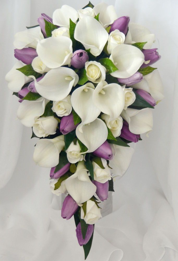SILK WEDDING BOUQUET LATEX WHITE CALLA LILY PURPLE TULIP CREAM ROSE TEARDROP  #Singapore