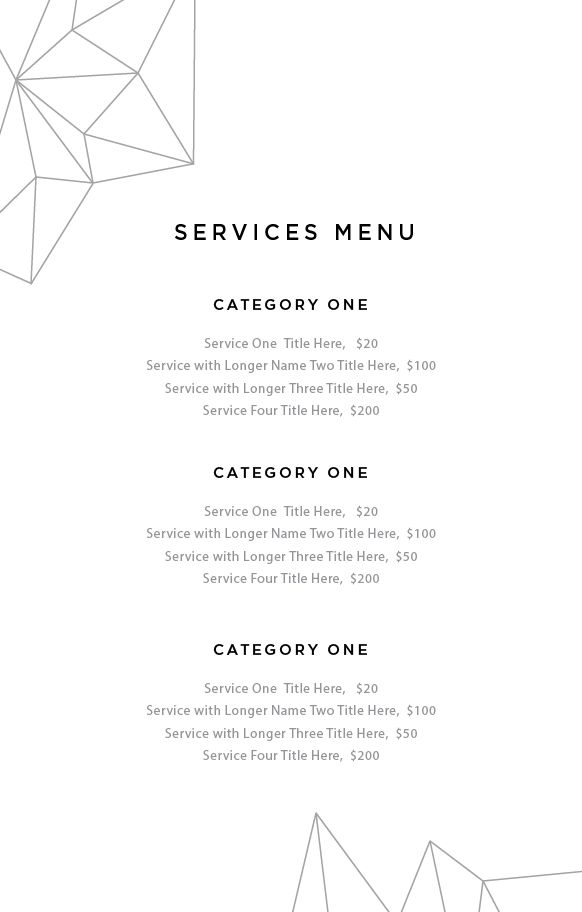 image studios service menu template imagestudios image studios
