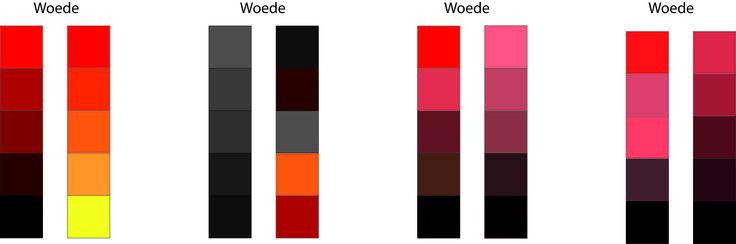 Woede:  Woede straalt vooral de kleuren rood, oranje en bruin uit. Rood staat voor vuur en passie. Rood staat voor risico's die je durft nemen in het leven. Rood is ook de kleur van vuur en woede kan soms heel vurig zijn. Ook oranje en bruin grenzen tegen het rood aan. Rood staat ook voor wilskracht, agressief en dominant.