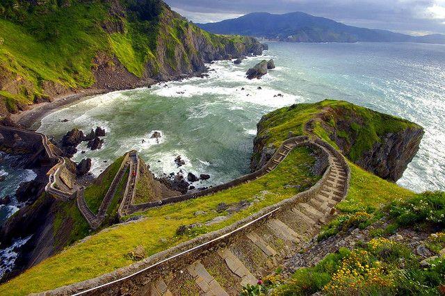Steps to the ocean on the island of San Juan de Gaztelugatxe in Spain.