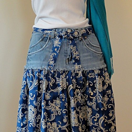 Handmade Jeans Skirt - Upcycled Denim and Paisley Printed Cotton ....love this