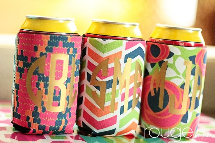 Metallic Monogram koozies