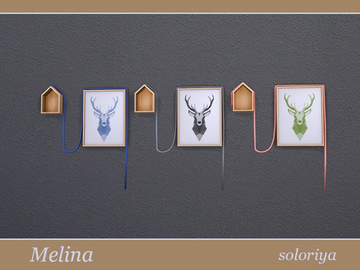 Painting of a deer with a rope and small house. Part of Melina Living Room set. 3 color variations. Category: Decorative - Paintings.  Found in TSR Category 'Sims 4 Paintings & Posters'