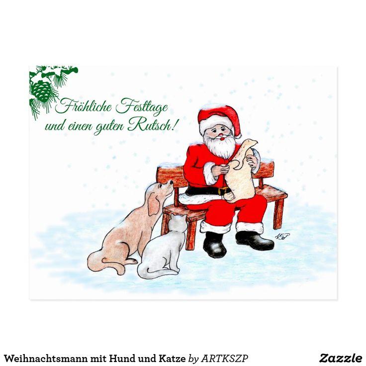 #Nikolaus #Weinachtsmann mit #Hund und #Katze #grüße #grußkarte #deutsch #neu  #angebot #zazzle