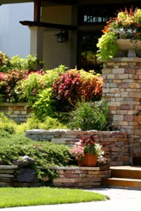 Brick Wall Garden-planters on brick wall