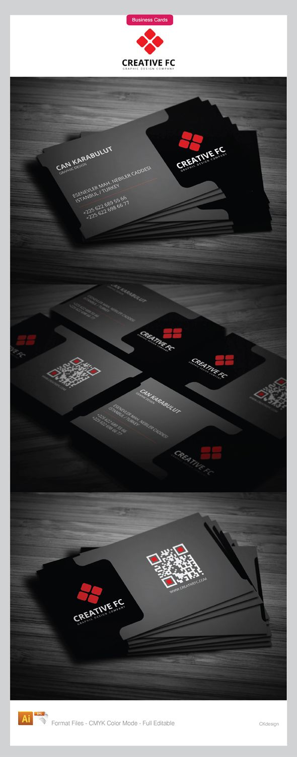 black corporate business cards design with red color corporate logo that outstanding on the card
