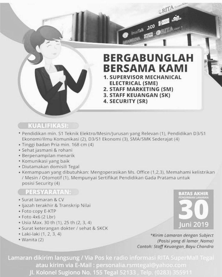 Lowongan Kerja RITA SUPERMALL TEGAL Marketing, Teknik