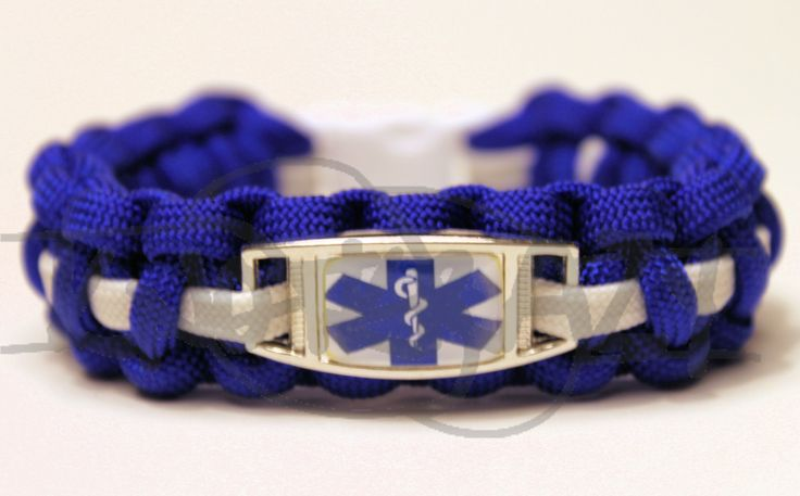 Medical Alert ID ALLOY Charm on 550 Paracord Survival Strap Bracelet with Plastic Contoured Side Release Buckle Glow in the Dark. $20.00, via Etsy.