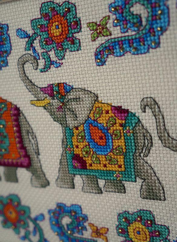 indian elephants cross stitch / индийские слоны - вышивка крестом   Flickr - Photo Sharing!