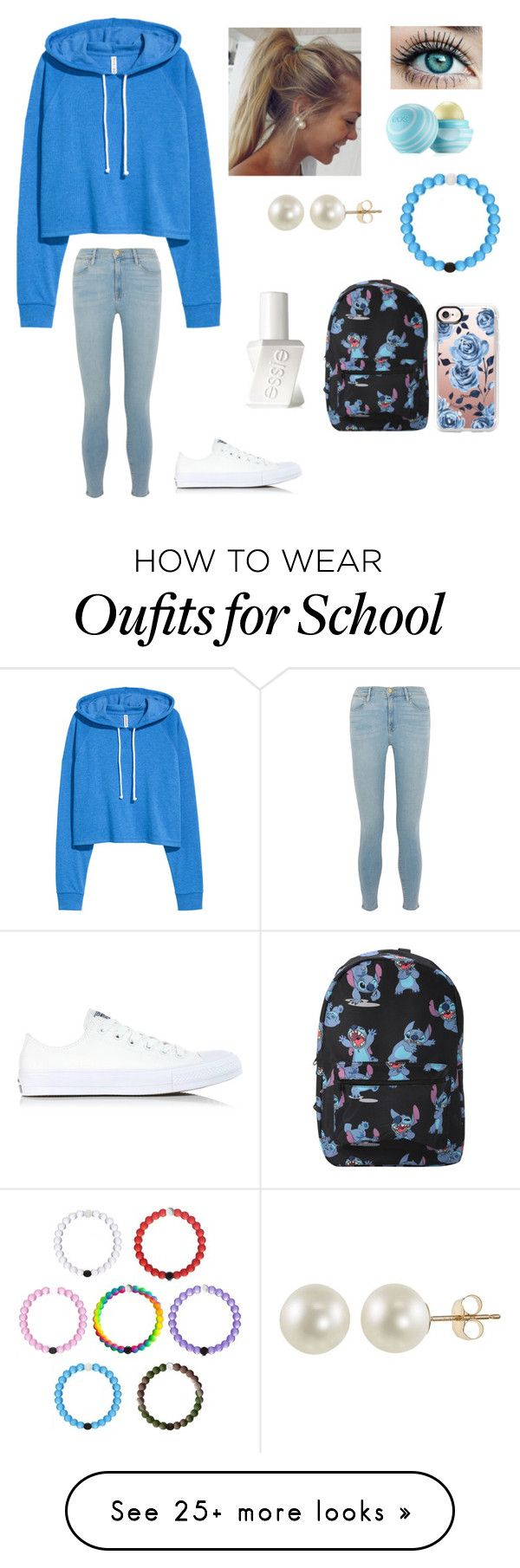 """""""School Days #32"""" by jaydengonz on Polyvore featuring Frame, Converse, Eos, PearLustre by Imperial, Casetify, Disney and Essie"""