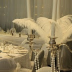 #Ostrich Feathers #pearls #SilverPlatedCandelabras