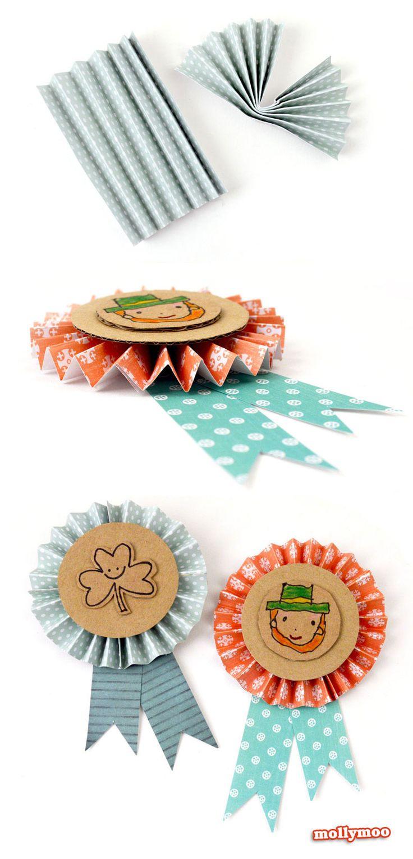 DIY St Patrick's Day Badges  | MollyMooCrafts.com #papercrafts
