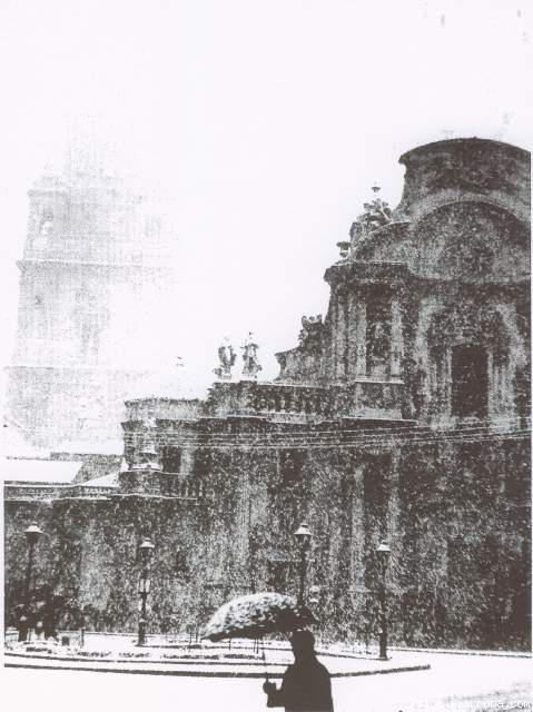 Nieve en la Plaza Cardenal Belluga en Murcia, 1983.