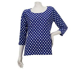 Pin to Win #SusanGraver Sweepstakes! {Liquid Knit Top with Dot Print and 3/4 Sleeves} Enter here: http://sweeps.pinfluencer.com/QVC