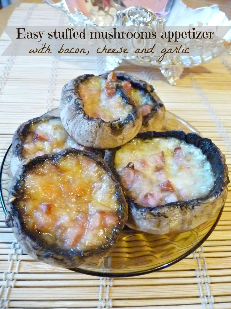 Quick appetizer – Stuffed mushrooms with bacon, cheese and garlic #mushrooms #easyrecipes #stuffedmushrooms #appetizer