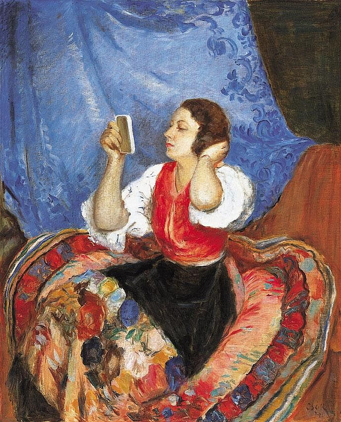 Csók István 1865-1961 Girl Resting (actress Gizi - by Kieselbach Gallery