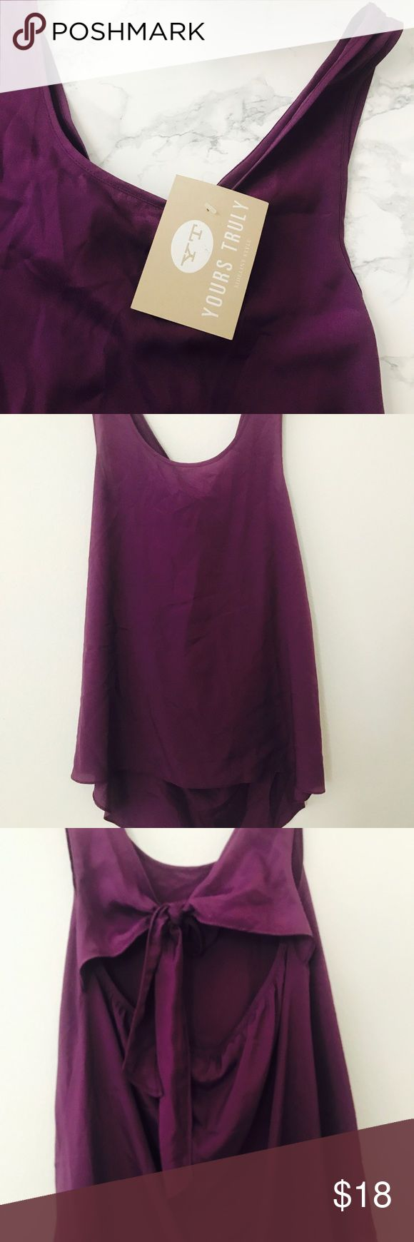 NWT Purple Bow Back Tank 🌻Comment For Exact Measurements 🌻Feel Free to Offer:) Negotiable Pricing  🌻Bundle for a Discounted Price! 🌻Clean & Smoke Free 🌻Packaged With Love and Care  🌻Fast Response Time Boutique Tops Tank Tops