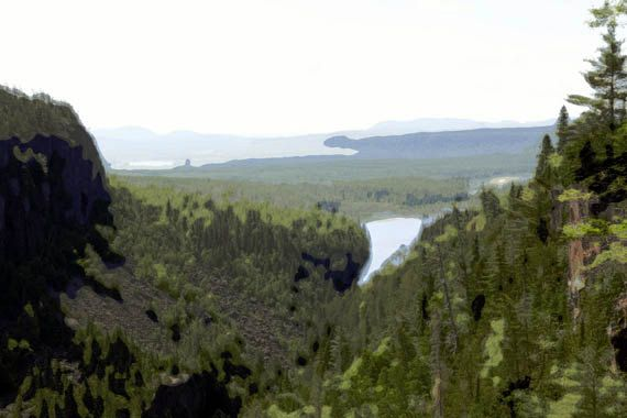 Abstract wall art Canada landscape photography, Ouimet Canyon forest lookout by Made by Gia from $30.00
