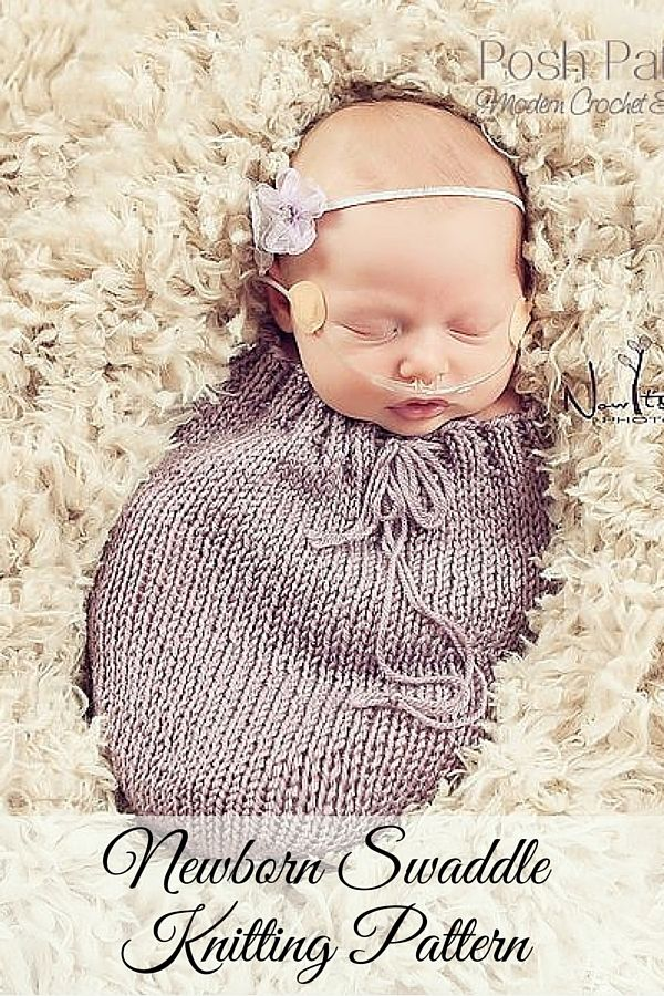 Knitting pattern easy knit newborn swaddle sack pattern cocoon