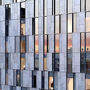 Glass and Stone Facade by BKSK Architects