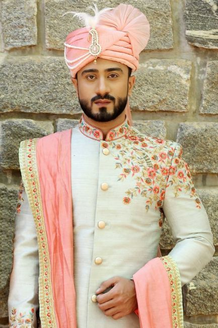 17d771cabb Buy Peach & Green Zari Embroidered Raw Silk Wedding Sherwani Online