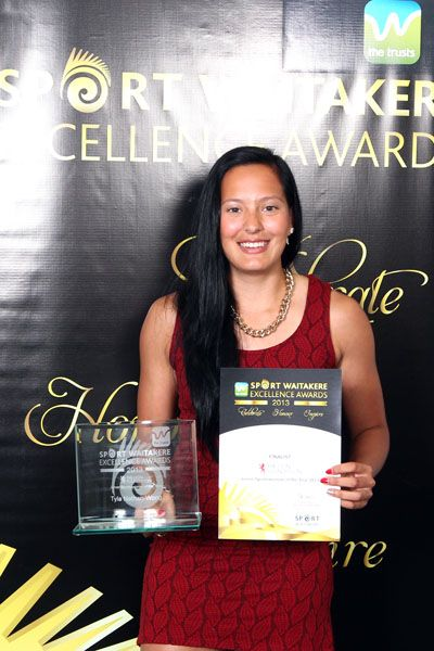 Tyla Nathan-Wong with her Sport Waitakere Excellence Award for young sportswoman of the year.