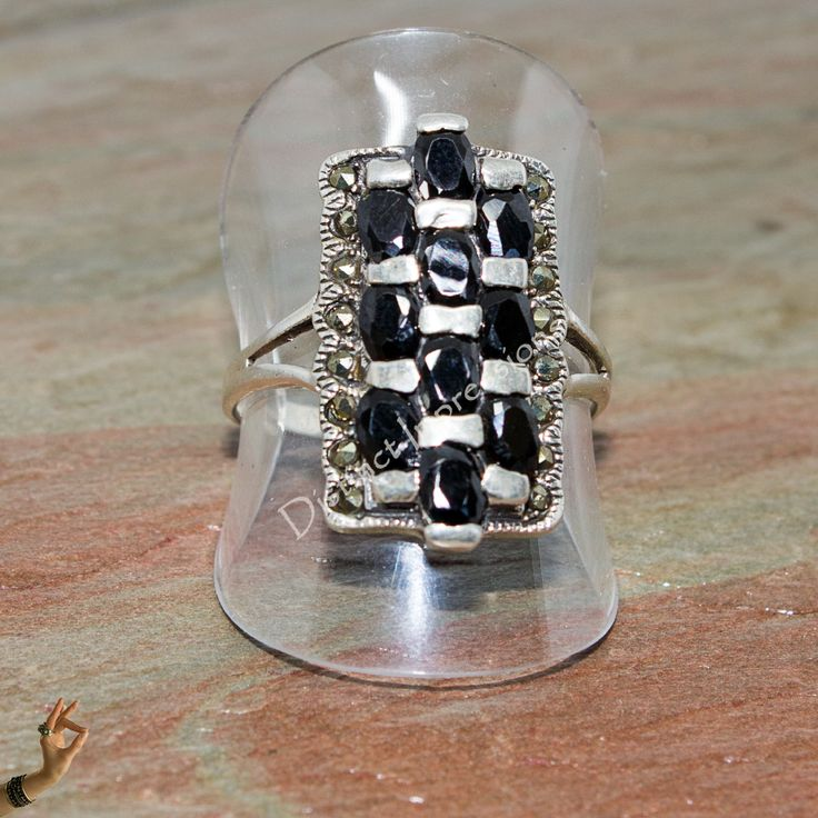 black spinel and marcasite sterling silver ring
