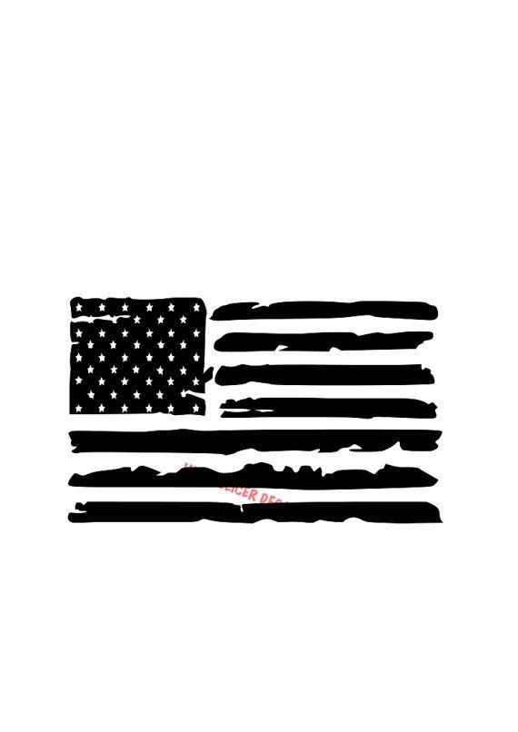 Distressed American Flag hood decal large. hood door tailgate - Merica, military police firefighter