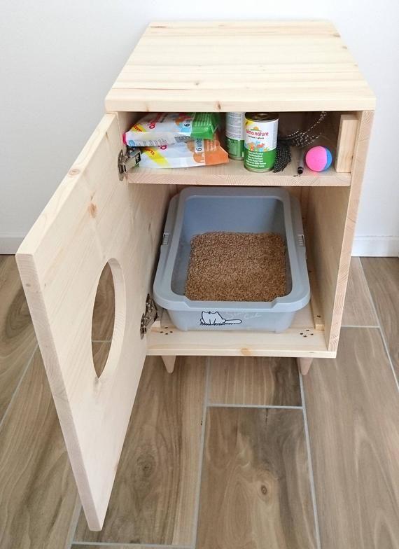 Katze Wurf Box Abdeckung, Haustier Möbel, Katzenhaus, moderne Wurf Box Schrank aus Fichtenholz