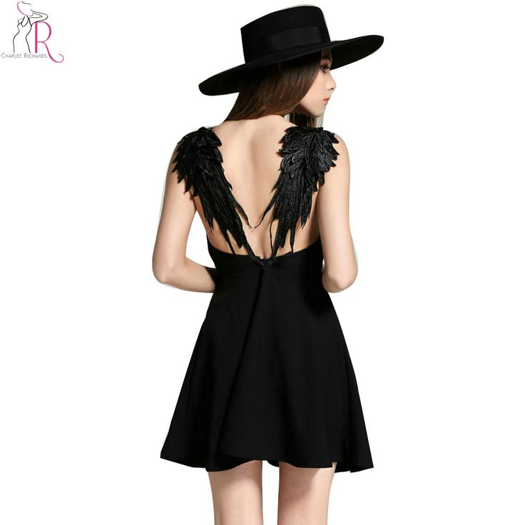16.99e Musta, L-koko.  2 Colors Feather Spaghetti Strap Backless Mini Skater Dress Sleeveless Casual Sexy Clubwear Party Dresses 2016 Summer Women-in Dresses from Women's Clothing & Accessories on Aliexpress.com   Alibaba Group