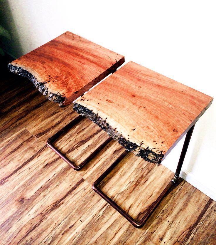 redgum river wood + copper pipe end tables. Instagram.com/caveandburrow