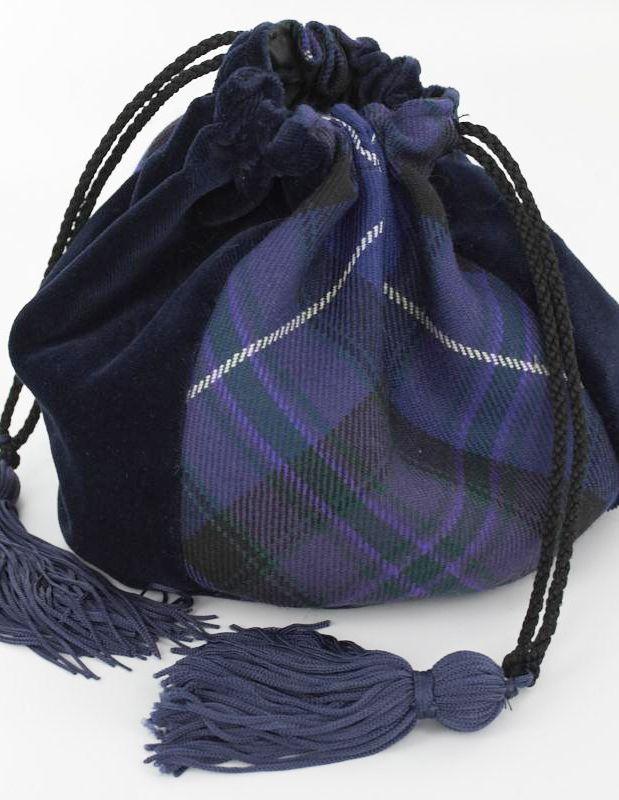 Purple velvet and tartan evening bag.